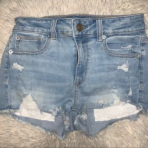 American Eagle distressed lace detail shorts